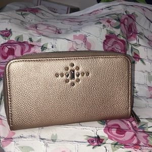 Rose Glow faux leather wallet with gems NEW
